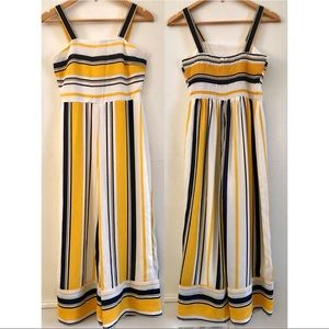 Japna Yellow and Navy Striped Jumpsuit